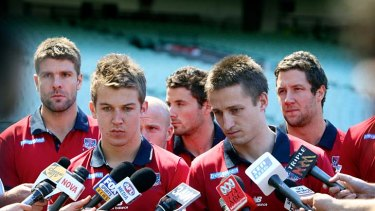 Jack Grimes and Jack Trengrove speak to the media yesterday.