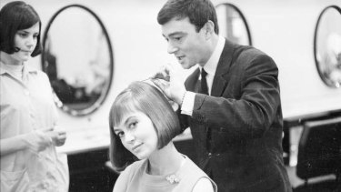 Salon days … Vidal Sassoon in 1963 styles a long bob a long for actress Janette Scott.