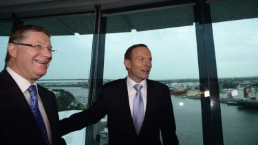 The Prime Minister Tony Abbott and the Victorian Premier Denis Napthine announce joint infrastructure spending on phase two of the East West Link last month.