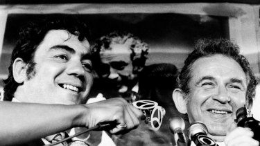 Breslin, left, and author Norman Mailer concede defeat in New York City's primary election after Mailer's unsuccessful bid for mayor in 1969, with Breslin as his running mate for city council president.
