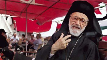 Faces eight years in jail ... Father Hilarion Capucci aboard MV Blue Marmara, in another attempt to return to Gaza.