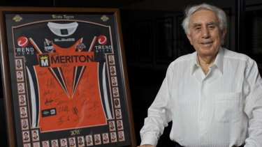 Brand exposure ... Harry Triguboff's company, Meriton, is prominently displayed on the Wests Tigers' best-selling jersey.