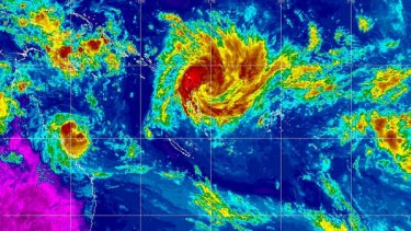 An infra-red image shows Cyclone Anthony bearing down on the Queensland coast, with a large tropical depression off Vanuatu expected to develop into another, more devastating cyclone.