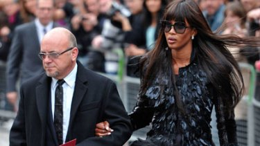 Naomi Campbell arrives at the service.