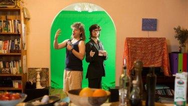 Giordano Nanni (Ken Oathcarn) and Hugo Farrant (Robert Foster) of the satirical YouTube show The Juice Rap News in their Thornbury home studio.