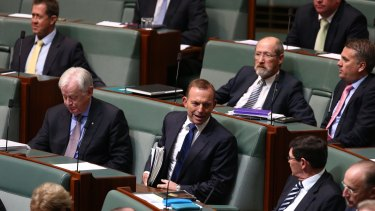 Tony Abbott during question time on Monday.