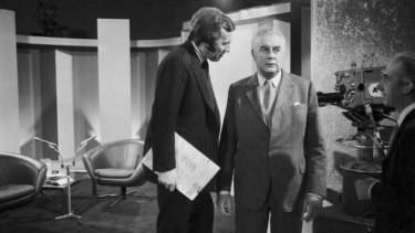 Australian connection: David Frost talks with then Australian prime minister Gough Whitlam, at the ATN 7 Studios in Epping, Sydney, in 1973.