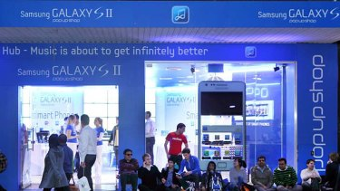 """Samsung's temporary """"pop up"""" store on George Street, just metres away from the Apple Store."""