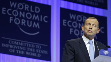 Prime Minister Tony Abbott has attacked Labor's stimulus spending during the GFC in his speech to the World Economic Forum in Davos, Switzerland.