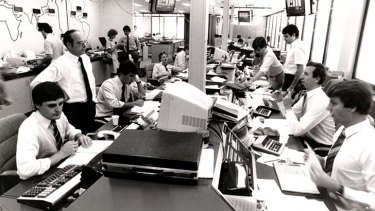 Players: Scenes at Westpac bank's foreign exchange division in Martin Place in 1983.