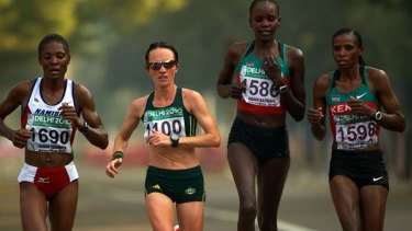 Lisa Weightman leading the pack during the women's race.