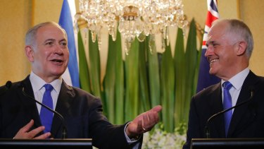 Israeli Prime Minister Benjamin Netanyahu, left, with Australian Prime Minister Malcolm Turnbull during their joint press conference at Kirribilli House on Wednesday.