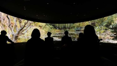 Visitors view a 180-degree video installation of Monet's garden at the NGV.