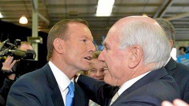 Opposition leader Tony Abbott likes what he hears from former PM John Howard.