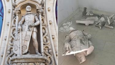 This statue, left, of young Dom Sebastiao, King of Portugal was totally destroyed, right, in May 2016 by someone trying to take a selfie.