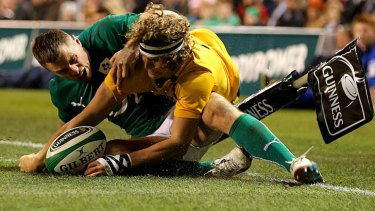 Disallowed: Nick Cummins is ruled to have knocked on over the tryline.
