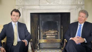 Power-sharing ... Michael Sheen reprises his role as Tony Blair, this time beside Dennis Quaid as Bill Clinton.