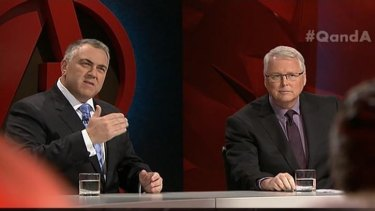 One-man show: Joe Hockey's solo appearance on Q&A garnered him many challenges to overcome.