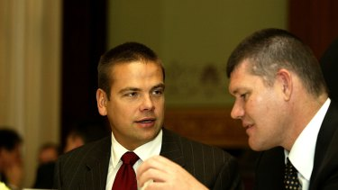 Lachlan Murdoch (left) holds 7.5 per cent of Ten. James Packer was understood to be keen to sell his 7.7 per cent stake.