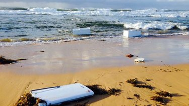 Surprising find: fridges were washed up on Shelly Beach.