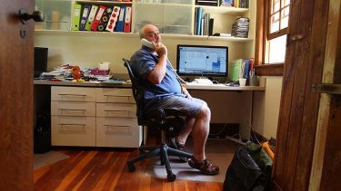 Working from home. Advertising account manager Paul Giles