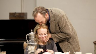 Hugo Weaving and Jackie Weaver in rehearsals.