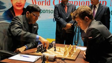 Clash of the heavyweights: Viswanathan Anand and Magnus Carlsen in action.