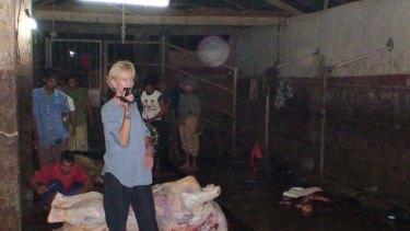 Animals Australia investigator Lyn White in an Indonesian abattoir.