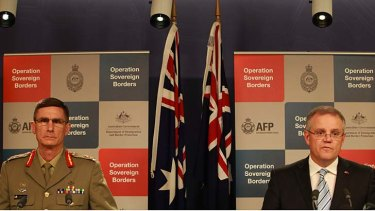 Immigration Minister Scott Morrisson, pictured with Lieutenant General Angus Campbell at a briefing, says he'll no longer hold the weekly press conferences.