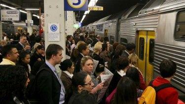 Commuter crush ... Peak hour at Wynyard Station.