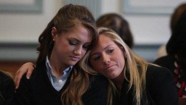 Support: Rachel Canning, left, with friend Lauren Inglesino.