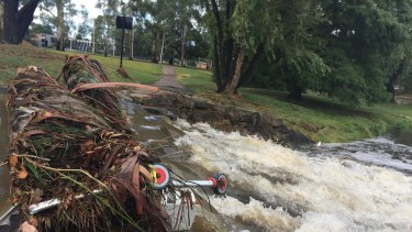 Sullivans Creek was still flowing strongly on Monday.