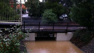 The flooded underpass at Mount Waverley station.