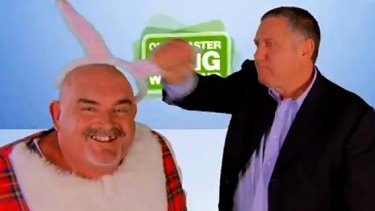 "Ray Hadley's ""henchman"": the DJ, right, in a scene from an advert he did with ""The Duck""."