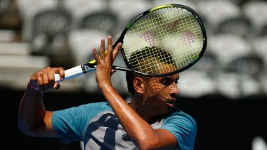 Rising star: Nick Kyrgios in training on Friday.