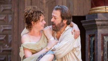 Miranda (Jessie Buckley) and Prospero (Roger Allam) in Shakespeare's Globe production of <i>The Tempest</i>.