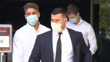 Warriors star Reece Walsh walks out of court after pleading guilty in Southport Magistrates Court to drug possession.