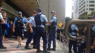 Police outside court.