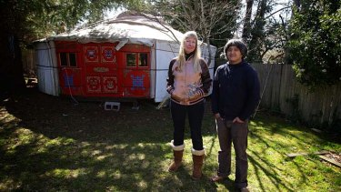 Claire Healy and Sean Cordeiro ... a Mongolian ger sits in the yard.