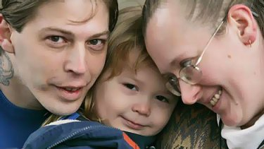 Heath Campbell, left, with his wife Deborah and son Adolph Hitler, 3.