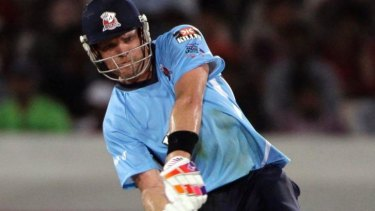 Lou Vincent playing for the Auckland Aces in the Champions League in 2011.
