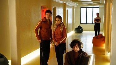 Dan Stevens (left), Rachel Keller and Aubrey Plaza in