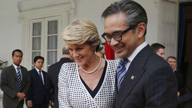 Must avoid long term damage: Australia's Foreign Minister Julie Bishop with her Indonesian counterpart, Marty Natalegawa.