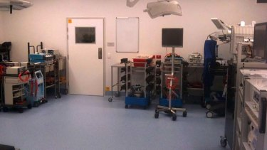 Waste of resources?: This operating room at Royal North Shore Hospital is being used as a storeroom.