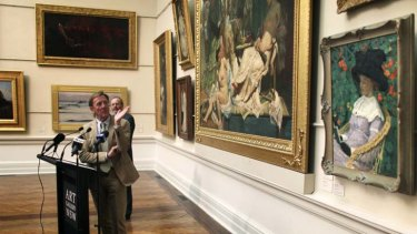 Generous ... the director of the Art Gallery of NSW, Edmund Capon, unveils Nasturtiums by Emanuel Phillips Fox.