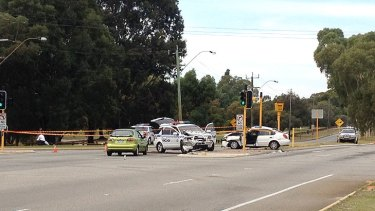 The crash at the intersection of Morley and Alexander Drives in Dianella yesterday, where an innocent mother was killed during a police chase.
