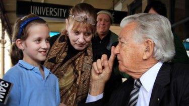 Bob Hawke on the campaign trail in Melbourne.
