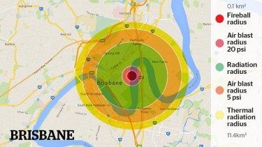 A representation of the Hiroshima Bomb damage if it fell on the Brisbane CBD.