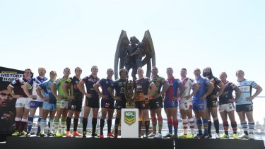 Team captains at the NRL season launch at Sydney's Royal Botanic Gardens last week.