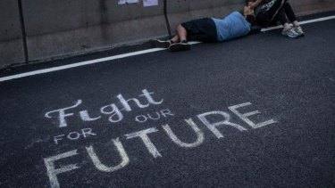 A protester outside the Hong Kong government's headquarters on Sunday morning.